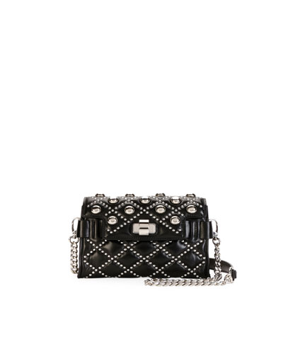 Studded Leather Chain Shoulder Bag