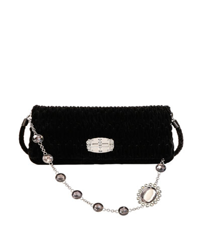 Club Collection Velvet Shoulder Bag, Black