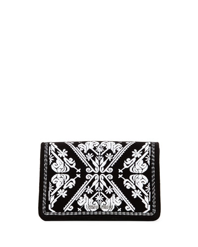 Embroidered Velvet Clutch Bag