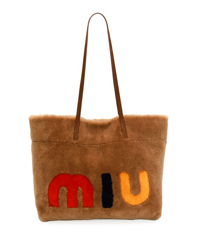 Miu Shearling Fur Tote Bag