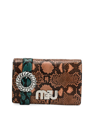 Python Clutch Bag with Jeweled Belt