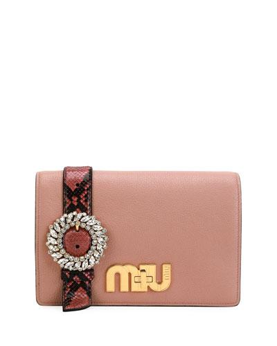 My Miu Embellished Watersnake-Trimmed Textured-Leather Shoulder Bag, Light Pink
