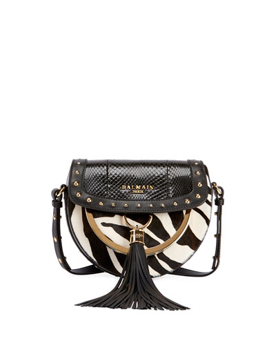 Domaine 18 Calf Hair & Snakeskin Shoulder Bag