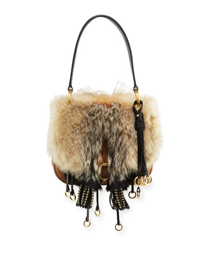 Fox Fur Flap-Top Shoulder Bag