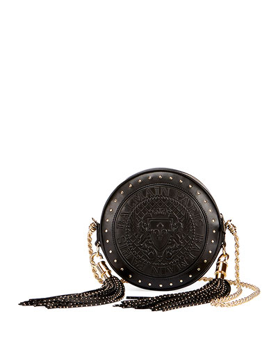 Renaissance Round Chain Shoulder Bag, Black