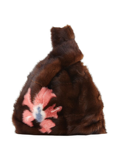 Furrissima Flower-Print Mink Fur Bag, Brown