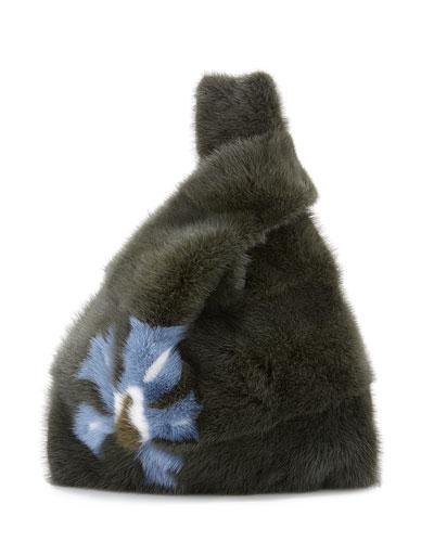 Furrissima Flower-Print Mink Fur Bag, Green