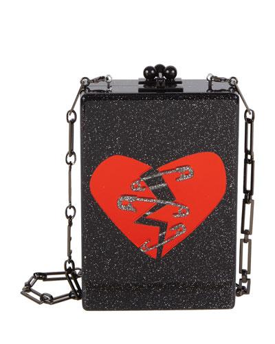 Carol Broken Heart Acrylic Clutch Bag with Chain
