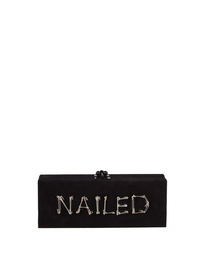 Flavia Nailed Acrylic Clutch Bag