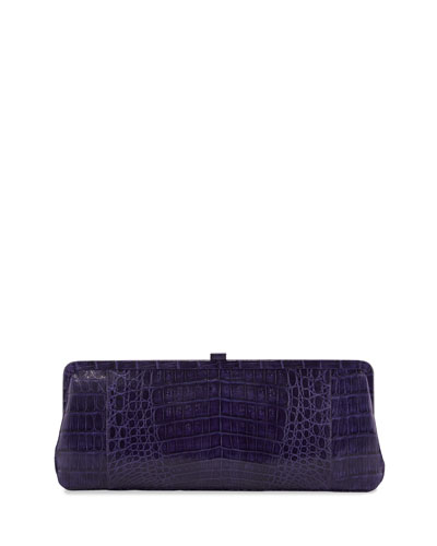 Small Frame Crocodile Clutch Bag, Purple Shiny