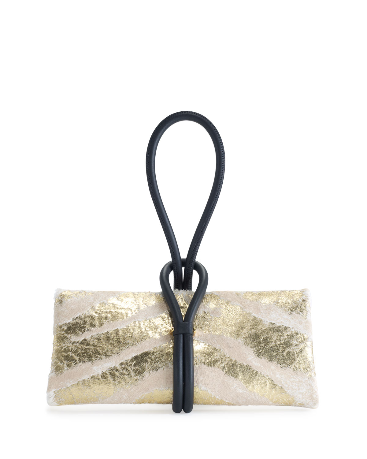 Tubo Zip Metallic Zebra-Print Wristlet Clutch Bag