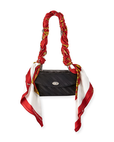 Small Lock Chain Shoulder Bag with Scarf