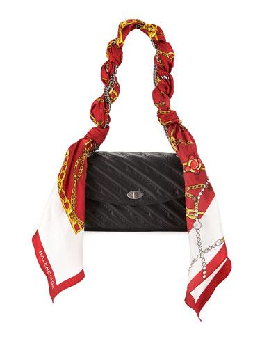 Lock Round Matelasse Shoulder Bag w/Scarf