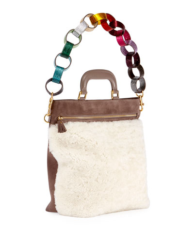 Orsett Small Paper Chain Shearling Fur Top-Handle Bag