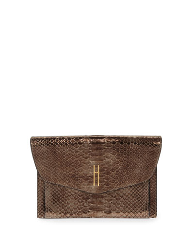 Bobby Metallic Python Envelope Clutch Bag