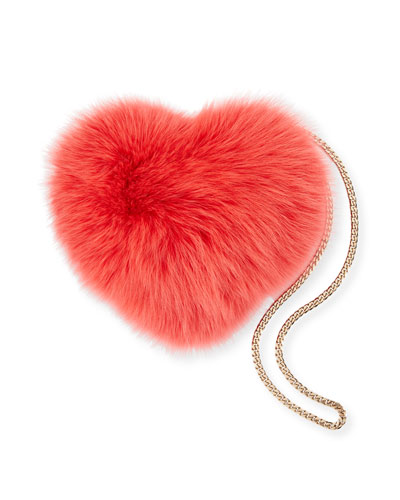 Heart Fur Pouch Bag with Chain