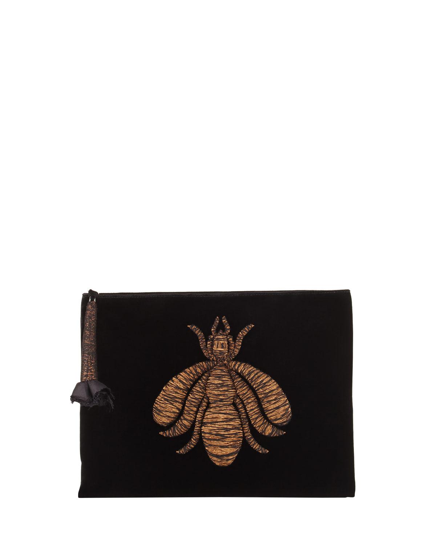 Ragno Spider-Embroidered Velvet Clutch Bag