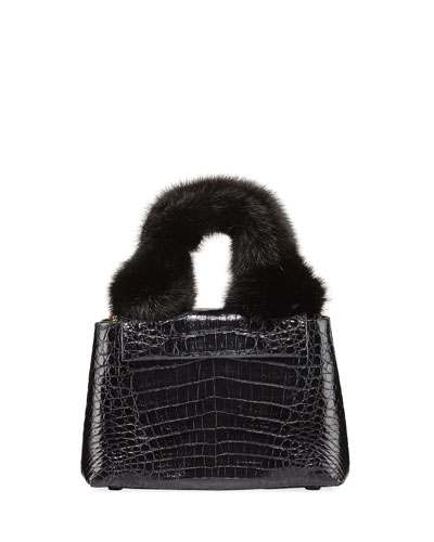 Mini Mink Fur Knot Handle Bag
