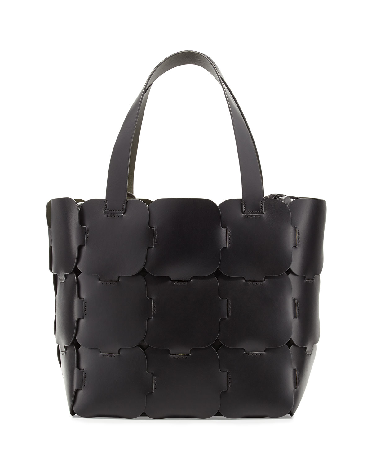 Cabas Brick Pattern Leather Tote Bag