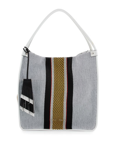 Woven Stripes Medium Tote Bag, Optic White/Mix