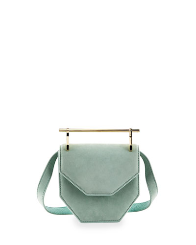 Amor Fati Mini Suede Satchel Bag, Green