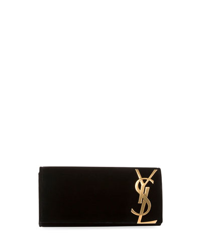 Monogram Small Flap Velvet Smoking Clutch Bag