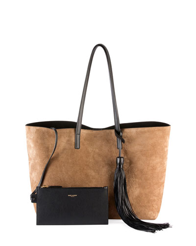 Large East-West Suede Tote Bag w/ Tassel