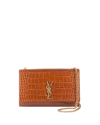 Kate Medium Croc-Embossed Crossbody Bag