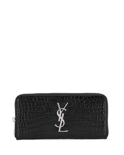 Monogram Croc-Embossed Zip Wallet