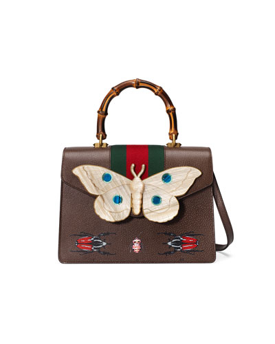 Falena Medium Moth Top-Handle Bag with Green/Red Web