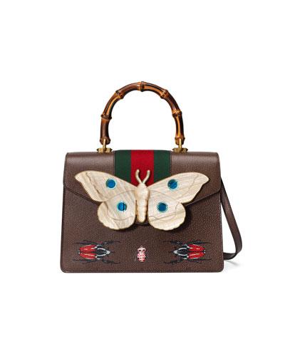 Falena Medium Moth Top-Handle Bag with Green/Red Web