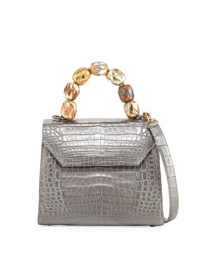 Medium Beaded Top-Handle Crocodile Bag