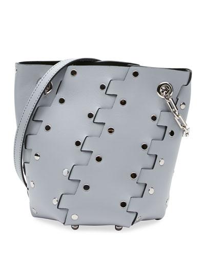 Mini Hex Studded Leather Bucket Bag