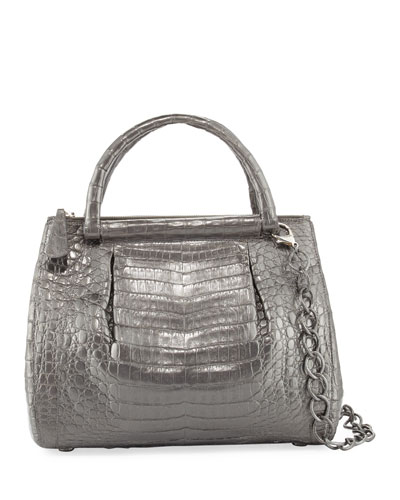 Medium Pleated Crocodile Tote Bag