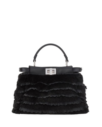 Peekaboo Small Mini Micro-Fringe Fur Satchel Bag