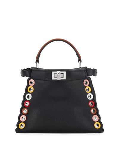 Peekaboo Small Grommet-Studded Leather Satchel Bag