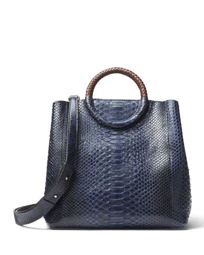 Skorpios Python Market Bag with Palladium Hardware