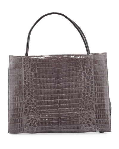 Wallis Large Bicolor Crocodile Tote Bag