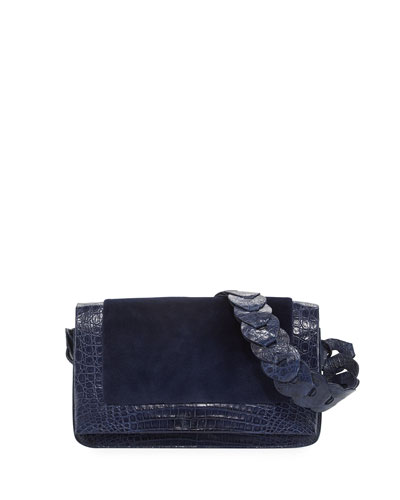 Sheared Mink & Crocodile Shoulder Bag