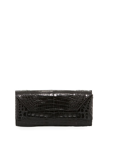 Patent Crocodile Pull-Through Clutch Bag