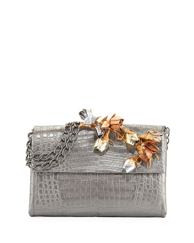 Rose Bud Crocodile Chain Shoulder Bag