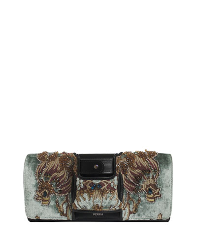 La Capitale Embellished Velvet Clutch Bag