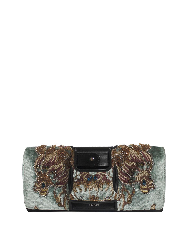 La Capitale Embellished Velvet Clutch Bag