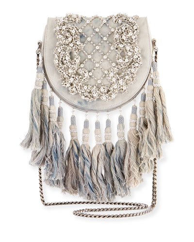 Beaded Tassel-Trim Flap Shoulder Bag