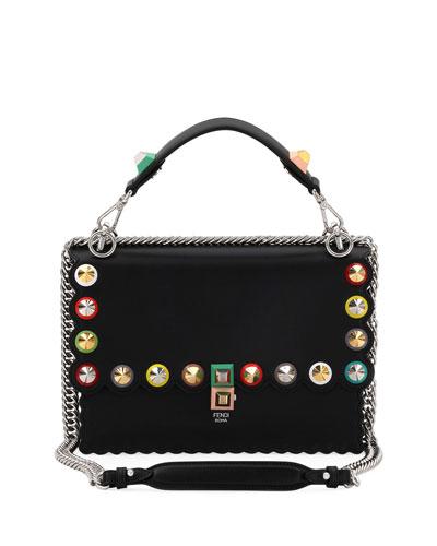Kan I Regular Studded Leather Scalloped Shoulder Bag