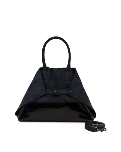 Ai Small Lacquered Nubuck Top-Handle Bag