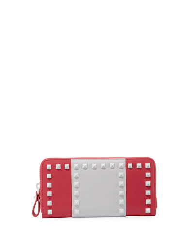 Free Rockstud Colorblock Zip Wallet