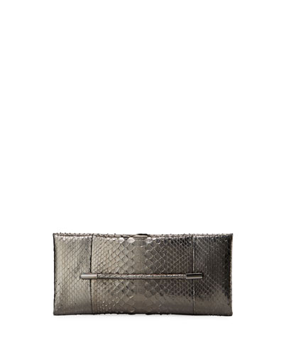 Ava Cosmo Metallic Python Clutch Bag, Medium Gray