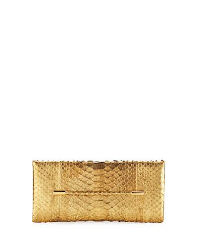 Cosmo Metallic Python Clutch Bag, Gold