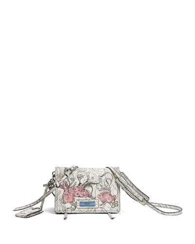 Etiquette Small Rabbit-Print Leather Crossbody Bag